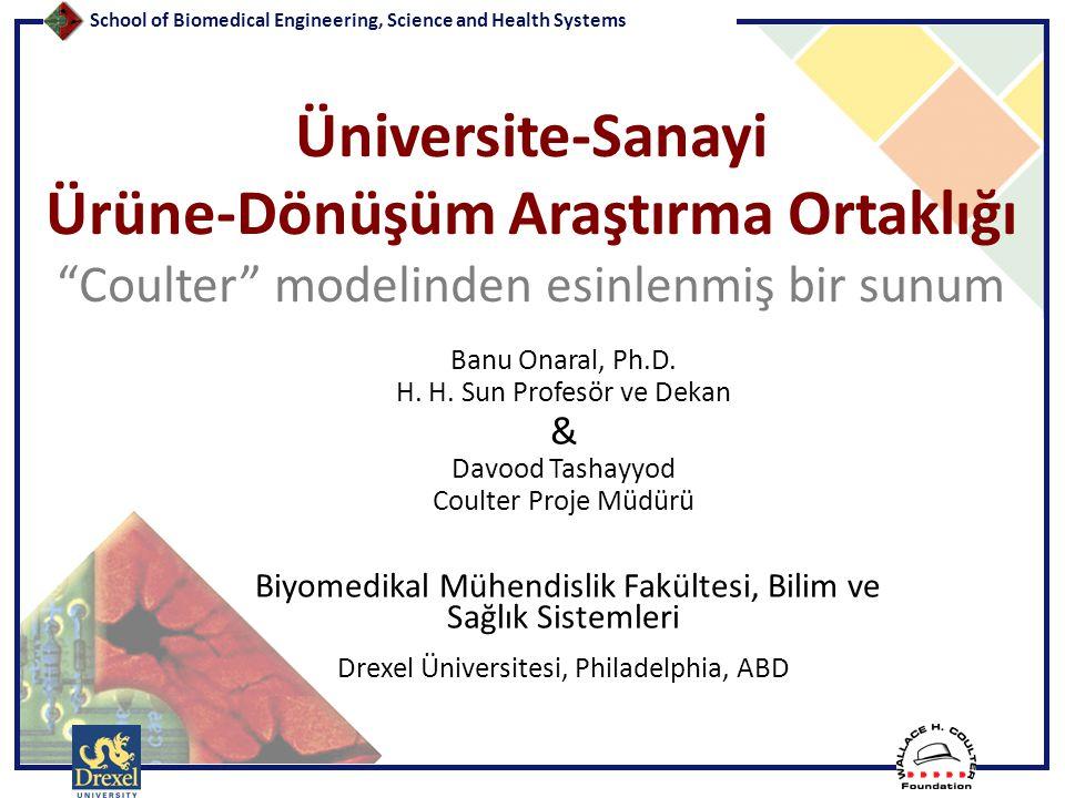 """School of Biomedical Engineering, Science and Health Systems Üniversite-Sanayi Ürüne-Dönüşüm Araştırma Ortaklığı """"Coulter"""" modelinden esinlenmiş bir s"""