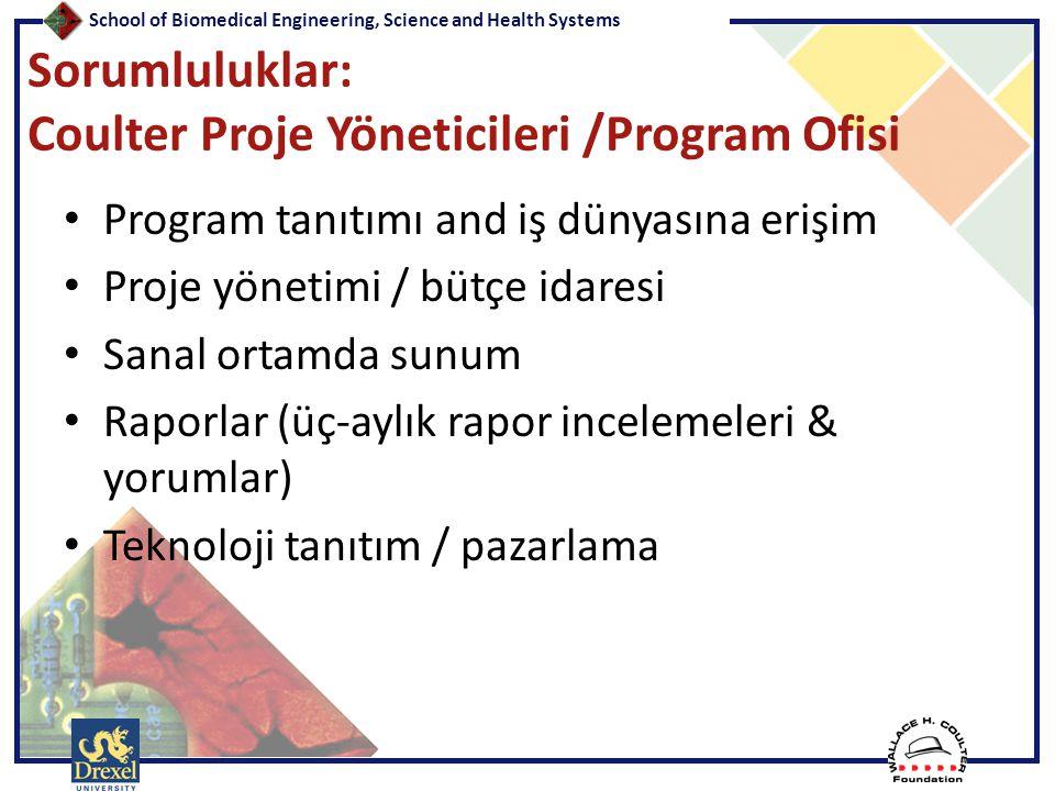 School of Biomedical Engineering, Science and Health Systems Sorumluluklar: Coulter Proje Yöneticileri /Program Ofisi • Program tanıtımı and iş dünyas