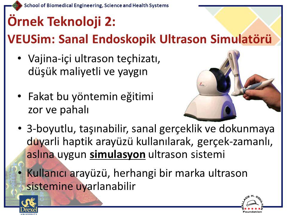 School of Biomedical Engineering, Science and Health Systems Örnek Teknoloji 2: VEUSim: Sanal Endoskopik Ultrason Simulatörü • Vajina-içi ultrason teç