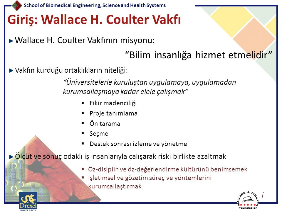 """School of Biomedical Engineering, Science and Health Systems Giriş: Wallace H. Coulter Vakfı Wallace H. Coulter Vakfının misyonu: """"Bilim insanlığa hiz"""