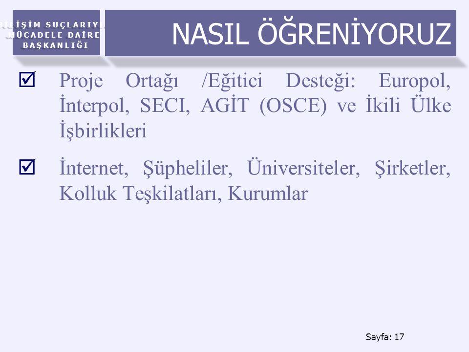 BİLİŞİM SUÇLARIYLA MÜCADELE DAİRE BAŞKANLIĞI NASIL ÖĞRENİYORUZ  Proje Ortağı /Eğitici Desteği: Europol, İnterpol, SECI, AGİT (OSCE) ve İkili Ülke İşbirlikleri  İnternet, Şüpheliler, Üniversiteler, Şirketler, Kolluk Teşkilatları, Kurumlar Sayfa: 17