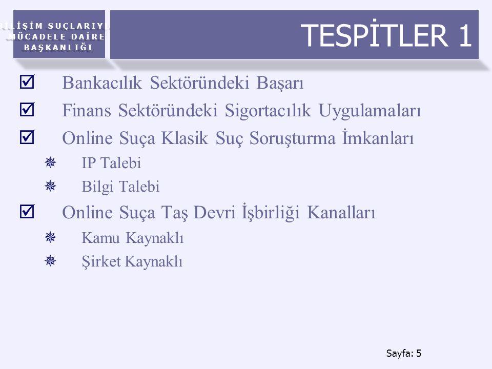 BİLİŞİM SUÇLARIYLA MÜCADELE DAİRE BAŞKANLIĞI TESPİTLER 1  Bankacılık Sektöründeki Başarı  Finans Sektöründeki Sigortacılık Uygulamaları  Online Suça Klasik Suç Soruşturma İmkanları  IP Talebi  Bilgi Talebi  Online Suça Taş Devri İşbirliği Kanalları  Kamu Kaynaklı  Şirket Kaynaklı Sayfa: 5