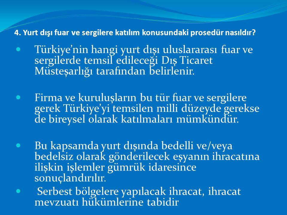 4. Yurt dışı fuar ve sergilere katılım konusundaki prosedür nasıldır?  Türkiye'nin hangi yurt dışı uluslararası fuar ve sergilerde temsil edileceği D