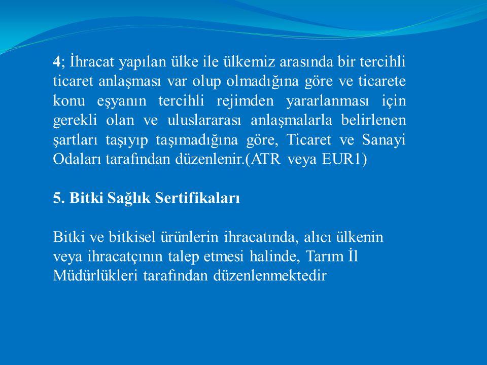 4; İhracat yapılan ülke ile ülkemiz arasında bir tercihli ticaret anlaşması var olup olmadığına göre ve ticarete konu eşyanın tercihli rejimden yararl