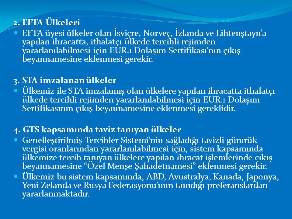 2. EFTA Ülkeleri  EFTA üyesi ülkeler olan İsviçre, Norveç, İzlanda ve Lihtenştayn'a yapılan ihracatta, ithalatçı ülkede tercihli rejimden yararlanıla
