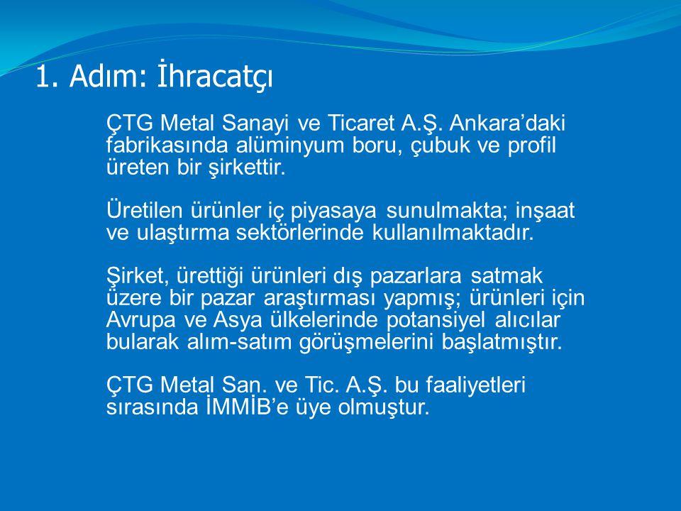 1. Adım: İhracatçı ÇTG Metal Sanayi ve Ticaret A.Ş. Ankara'daki fabrikasında alüminyum boru, çubuk ve profil üreten bir şirkettir. Üretilen ürünler iç