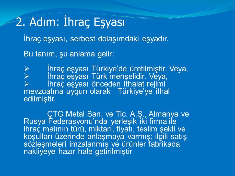 2. Adım: İhraç Eşyası İhraç eşyası, serbest dolaşımdaki eşyadır. Bu tanım, şu anlama gelir:  İhraç eşyası Türkiye'de üretilmiştir. Veya,  İhraç eşya
