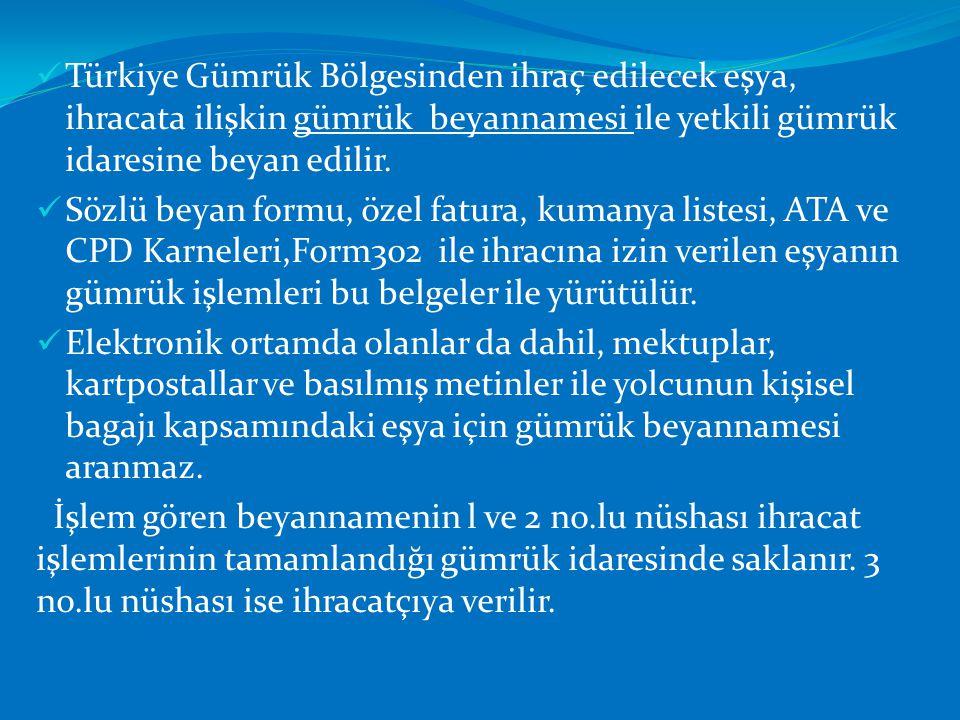  Türkiye Gümrük Bölgesinden ihraç edilecek eşya, ihracata ilişkin gümrük beyannamesi ile yetkili gümrük idaresine beyan edilir.  Sözlü beyan formu,