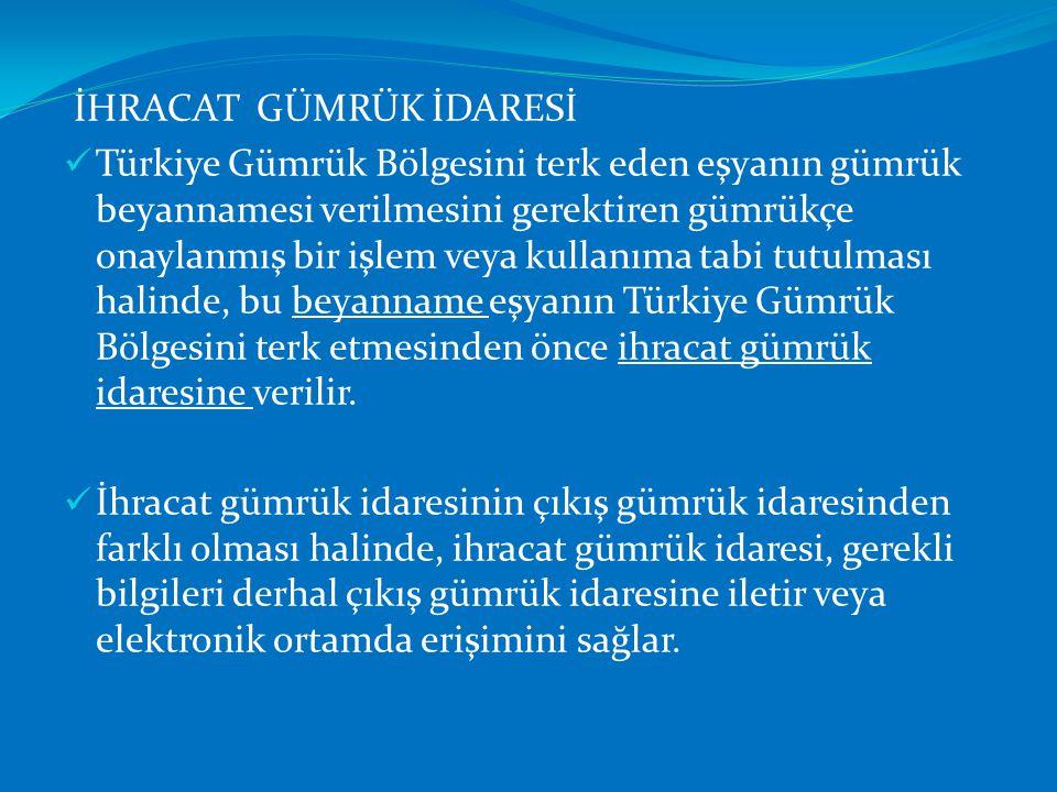 İHRACAT GÜMRÜK İDARESİ  Türkiye Gümrük Bölgesini terk eden eşyanın gümrük beyannamesi verilmesini gerektiren gümrükçe onaylanmış bir işlem veya kulla