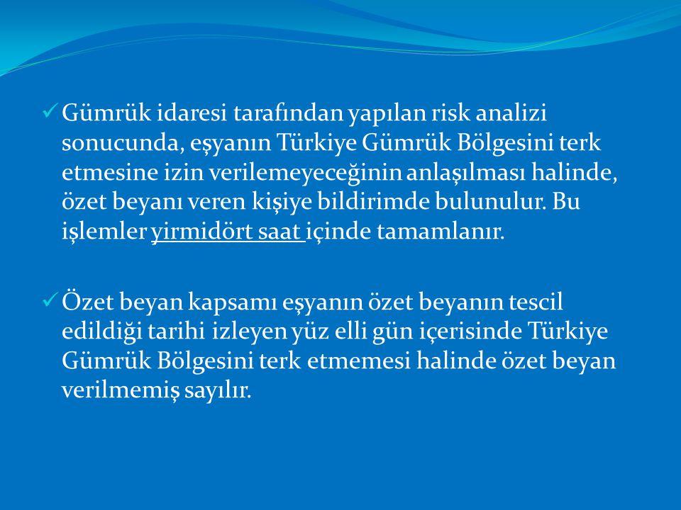  Gümrük idaresi tarafından yapılan risk analizi sonucunda, eşyanın Türkiye Gümrük Bölgesini terk etmesine izin verilemeyeceğinin anlaşılması halinde,