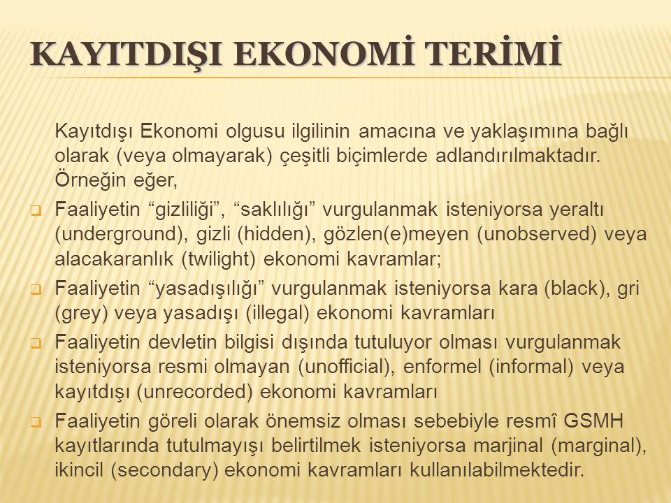 KAYITDIŞI EKONOMİ TERİMİ Kayıtdışı Ekonomi olgusu ilgilinin amacına ve yaklaşımına bağlı olarak (veya olmayarak) çeşitli biçimlerde adlandırılmaktadır.