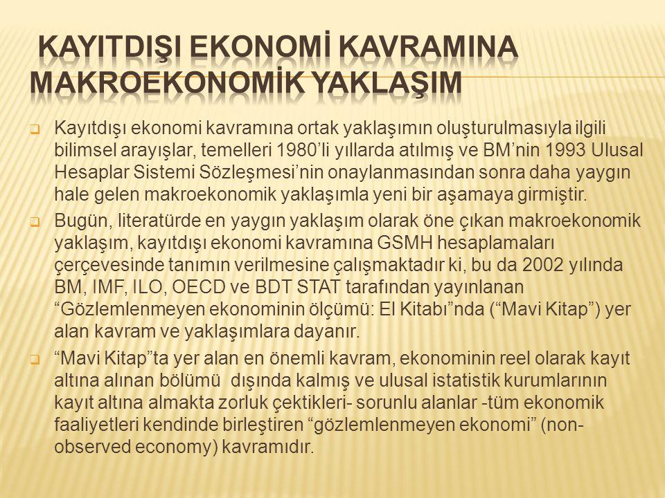  Kayıtdışı ekonomi kavramına ortak yaklaşımın oluşturulmasıyla ilgili bilimsel arayışlar, temelleri 1980'li yıllarda atılmış ve BM'nin 1993 Ulusal Hesaplar Sistemi Sözleşmesi'nin onaylanmasından sonra daha yaygın hale gelen makroekonomik yaklaşımla yeni bir aşamaya girmiştir.