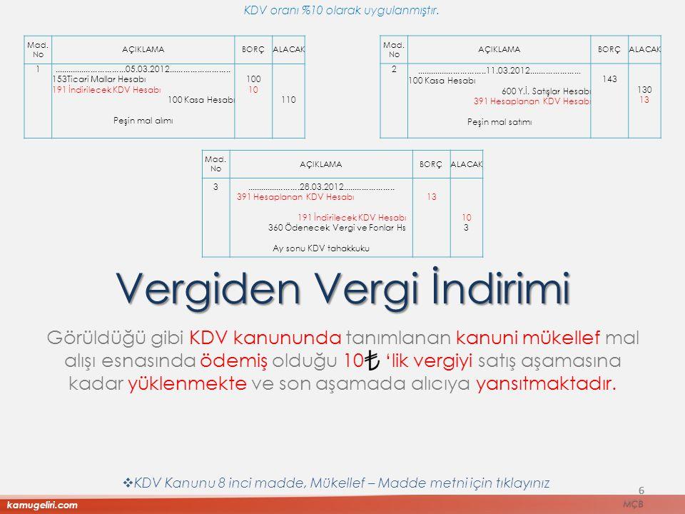 6 Görüldüğü gibi KDV kanununda tanımlanan kanuni mükellef mal alışı esnasında ödemiş olduğu 10 'lik vergiyi satış aşamasına kadar yüklenmekte ve son a