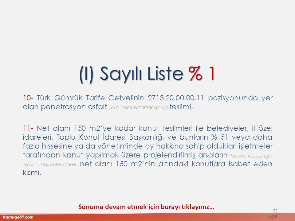(I) Sayılı Liste % 1 10- Türk Gümrük Tarife Cetvelinin 2713.20.00.00.11 pozisyonunda yer alan penetrasyon asfalt (cut-back asfaltlar hariç) teslimi, 1