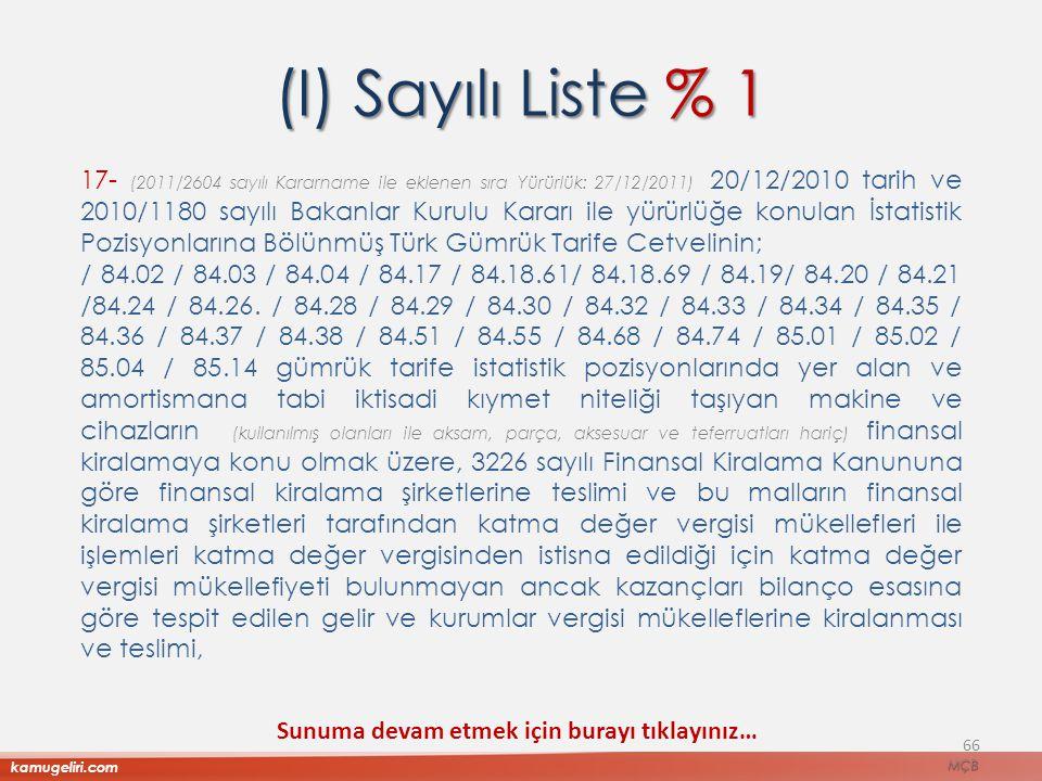 (I) Sayılı Liste % 1 17- (2011/2604 sayılı Kararname ile eklenen sıra Yürürlük: 27/12/2011) 20/12/2010 tarih ve 2010/1180 sayılı Bakanlar Kurulu Karar