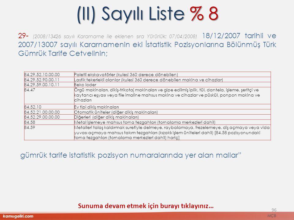 (II) Sayılı Liste % 8 29- (2008/13426 sayılı Kararname ile eklenen sıra Yürürlük: 07/04/2008) 18/12/2007 tarihli ve 2007/13007 sayılı Kararnamenin eki
