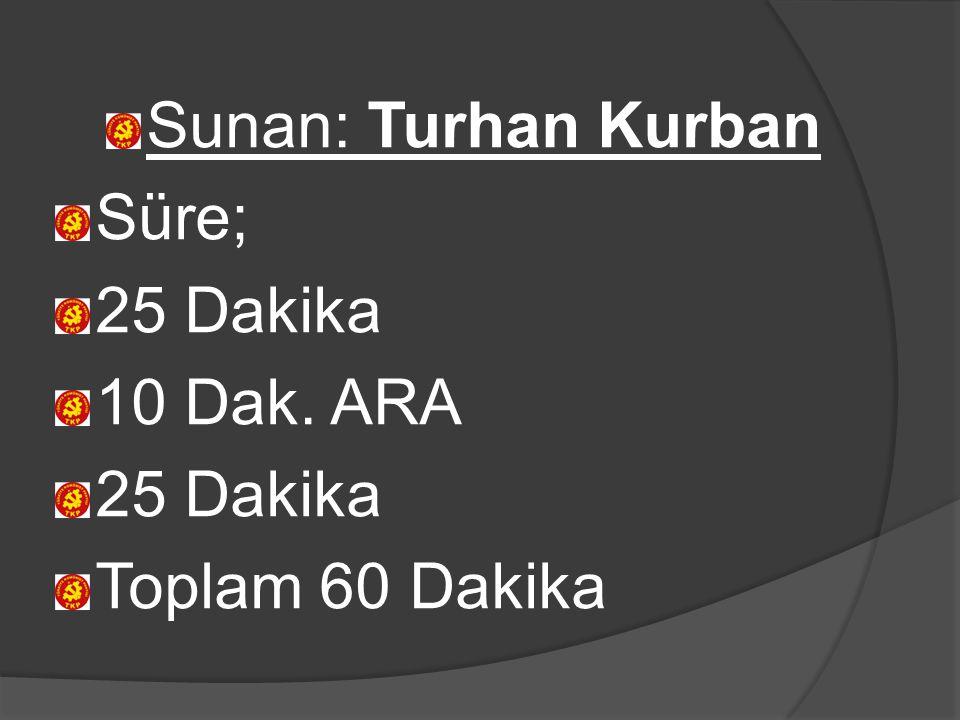 Sunan: Turhan Kurban Süre; 25 Dakika 10 Dak. ARA 25 Dakika Toplam 60 Dakika