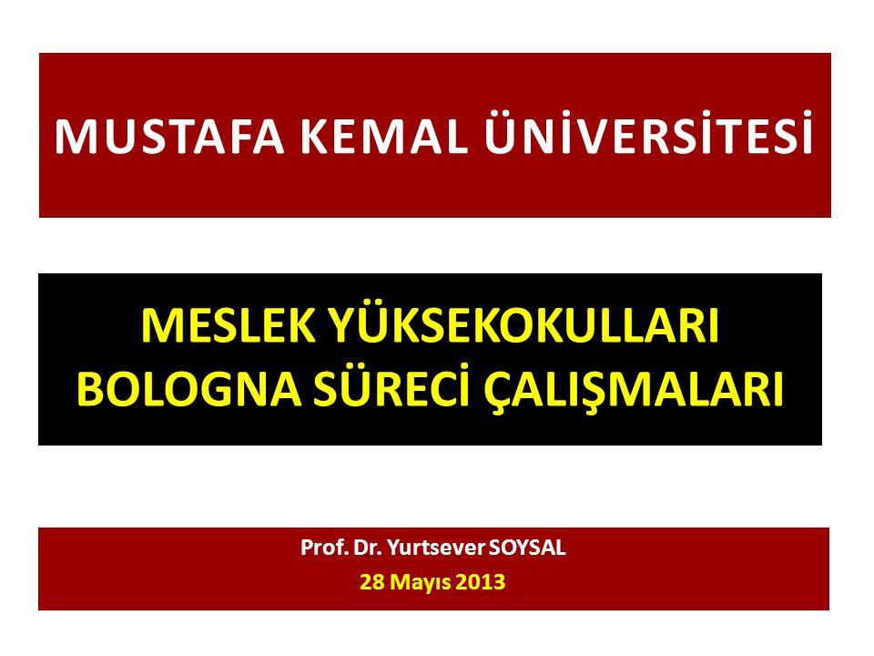 MUSTAFA KEMAL ÜNİVERSİTESİ MESLEK YÜKSEKOKULLARI BOLOGNA SÜRECİ ÇALIŞMALARI Prof. Dr. Yurtsever SOYSAL 28 Mayıs 2013