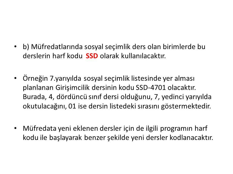 • b) Müfredatlarında sosyal seçimlik ders olan birimlerde bu derslerin harf kodu SSD olarak kullanılacaktır.
