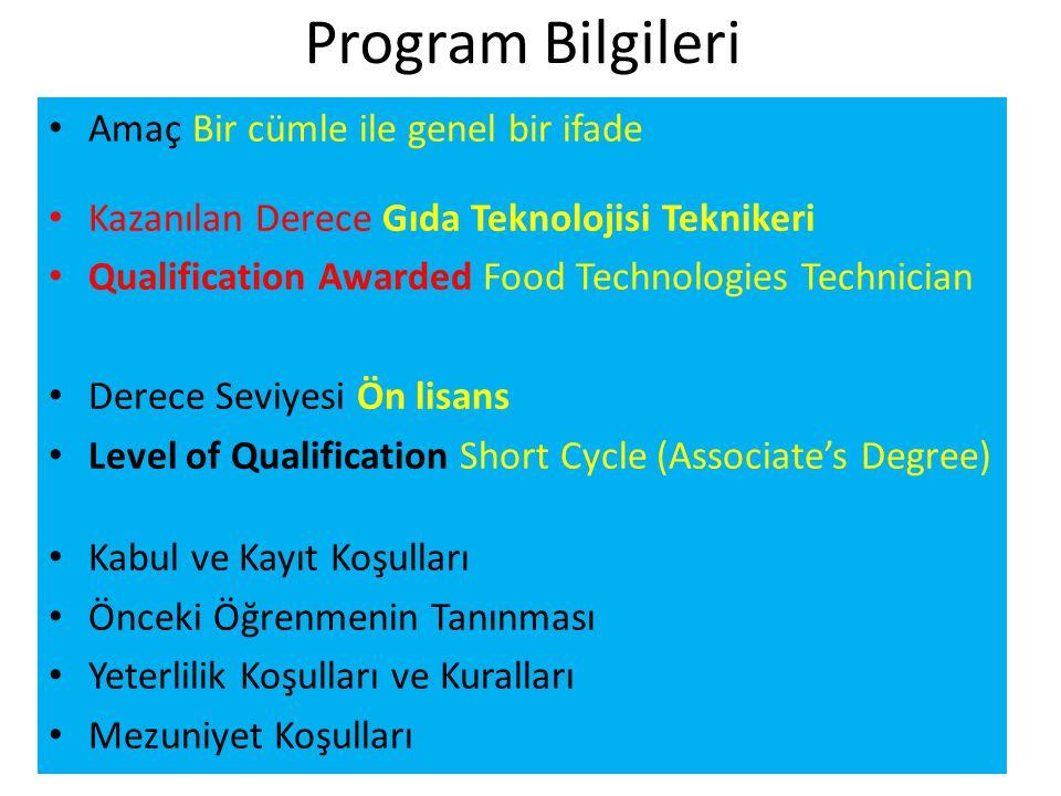 Program Bilgileri • Amaç Bir cümle ile genel bir ifade • Kazanılan Derece Gıda Teknolojisi Teknikeri • Qualification Awarded Food Technologies Technician • Derece Seviyesi Ön lisans • Level of Qualification Short Cycle (Associate's Degree) • Kabul ve Kayıt Koşulları • Önceki Öğrenmenin Tanınması • Yeterlilik Koşulları ve Kuralları • Mezuniyet Koşulları