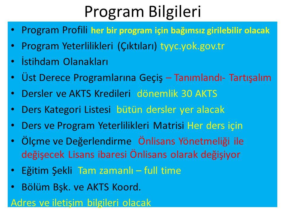 Program Bilgileri • Program Profili her bir program için bağımsız girilebilir olacak • Program Yeterlilikleri (Çıktıları) tyyc.yok.gov.tr • İstihdam O