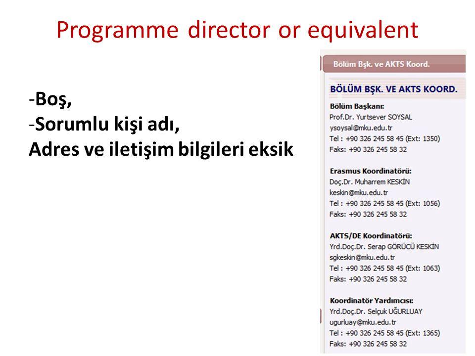 Programme director or equivalent -Boş, -Sorumlu kişi adı, Adres ve iletişim bilgileri eksik