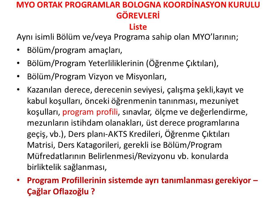 • c) Üniversite genelinde okutulan genel dersler (5i) için kod verme işlemi MYO K K - Bologna Koordinatörlüğü tarafından düzenlenecektir.