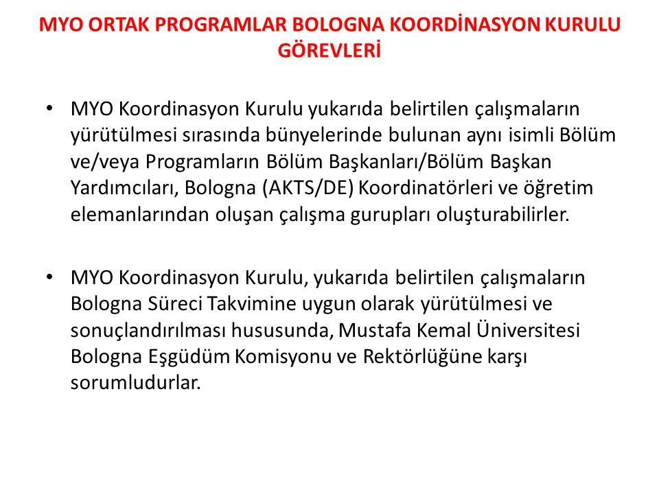 • MYO Koordinasyon Kurulu yukarıda belirtilen çalışmaların yürütülmesi sırasında bünyelerinde bulunan aynı isimli Bölüm ve/veya Programların Bölüm Baş