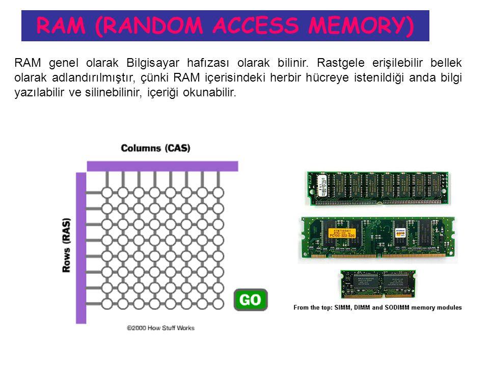 RAM (RANDOM ACCESS MEMORY) RAM genel olarak Bilgisayar hafızası olarak bilinir.