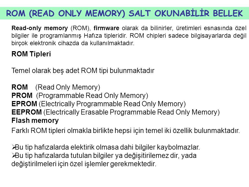 ROM (READ ONLY MEMORY) SALT OKUNABİLİR BELLEK Read-only memory (ROM), firmware olarak da bilinirler, üretimleri esnasında özel bilgiler ile programlanmış Hafıza tipleridir.