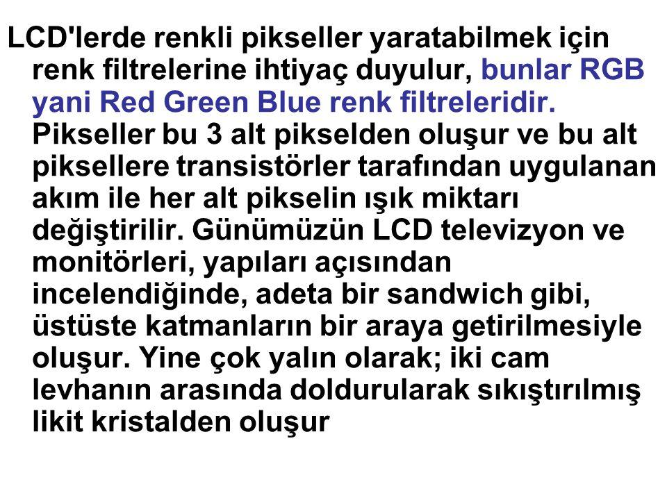 LCD lerde renkli pikseller yaratabilmek için renk filtrelerine ihtiyaç duyulur, bunlar RGB yani Red Green Blue renk filtreleridir.