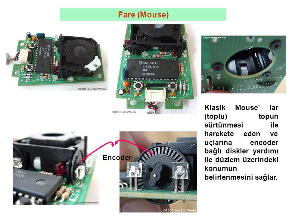 Fare (Mouse) Klasik Mouse' lar (toplu) topun sürtünmesi ile harekete eden ve uçlarına encoder bağlı diskler yardımı ile düzlem üzerindeki konumun belirlenmesini sağlar.