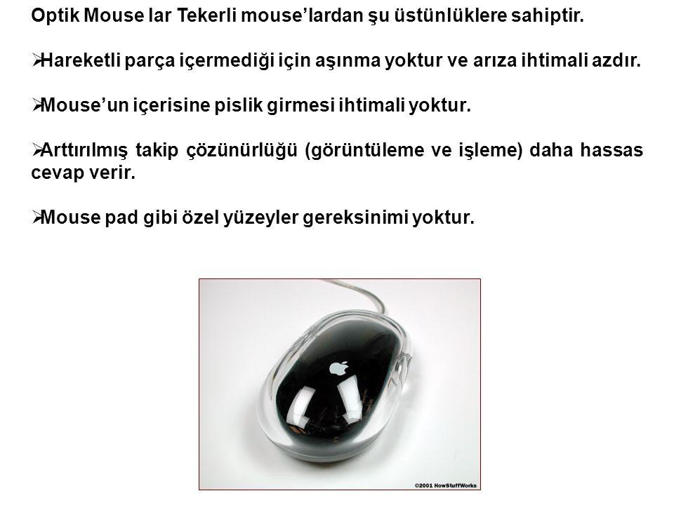 Optik Mouse lar Tekerli mouse'lardan şu üstünlüklere sahiptir.