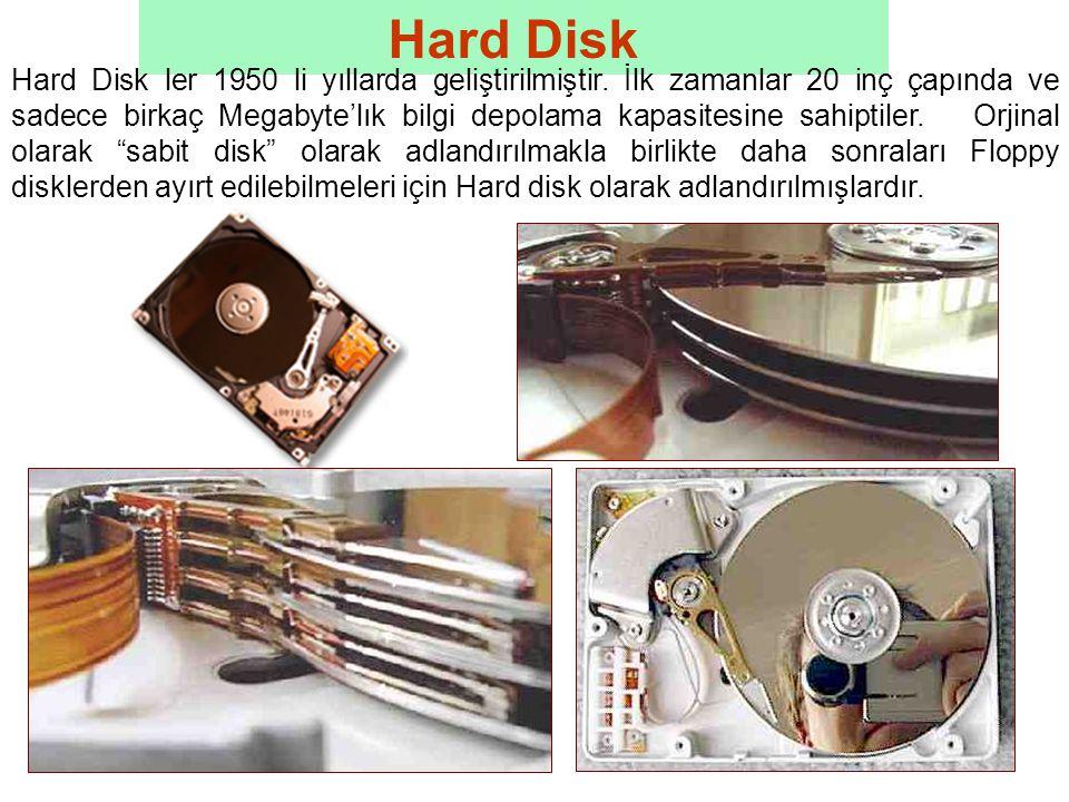 Hard Disk Hard Disk ler 1950 li yıllarda geliştirilmiştir.