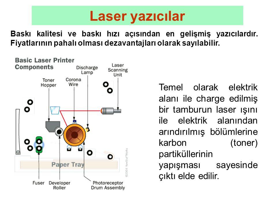 Laser yazıcılar Baskı kalitesi ve baskı hızı açısından en gelişmiş yazıcılardır.