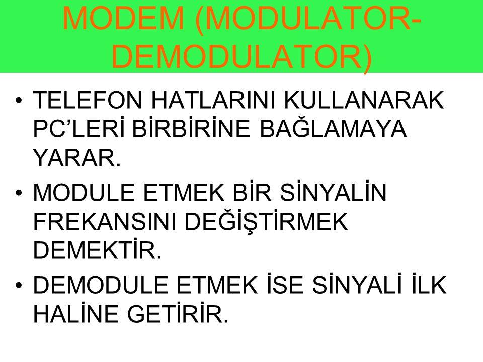 MODEM (MODULATOR- DEMODULATOR) •TELEFON HATLARINI KULLANARAK PC'LERİ BİRBİRİNE BAĞLAMAYA YARAR.