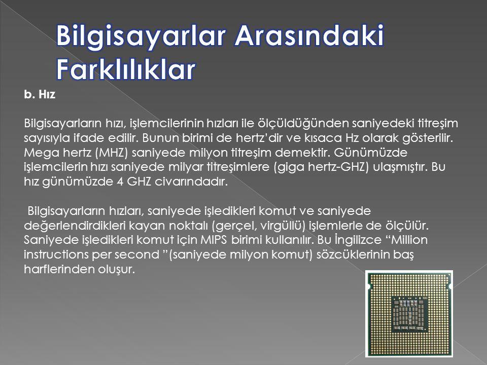 b. Hız Bilgisayarların hızı, işlemcilerinin hızları ile ölçüldüğünden saniyedeki titreşim sayısıyla ifade edilir. Bunun birimi de hertz'dir ve kısaca