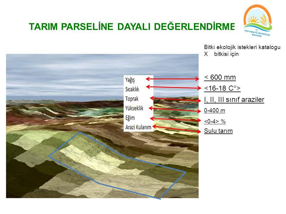 TARIM PARSELİNE DAYALI DEĞERLENDİRME Bitki ekolojik istekleri katalogu X bitkisi için % 0-400 m I, II, III sınıf araziler < 600 mm Sulu tarım