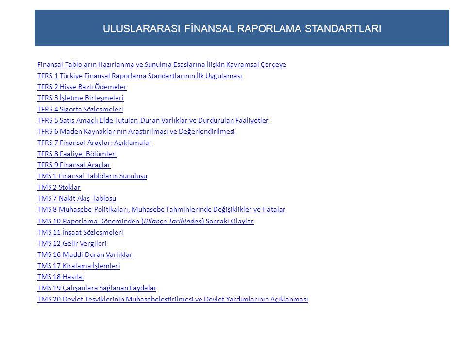 ULUSLARARASI FİNANSAL RAPORLAMA STANDARTLARI (devam) TMS 21 Kur Değişiminin Etkileri TMS 23 Borçlanma Maliyetleri TMS 24 İlişkili Taraf Açıklamaları TMS 26 Emeklilik Fayda Planlarında Muhasebeleştirme ve Raporlama TMS 27 Konsolide ve Bireysel Finansal Tablolar TMS 28 İştiraklerdeki Yatırımlar TMS 29 Yüksek Enflasyonlu Ekonomilerde Finansal Raporlama TMS 31 İş Ortaklıklarındaki Paylar TMS 32 Finansal Araçlar: Sunum TMS 33 Hisse Başına Kazanç TMS 34 Ara Dönem Finansal Raporlama TMS 36 Varlıklarda Değer Düşüklüğü TMS 37 Karşılıklar, Koşullu Borçlar ve Koşullu Varlıklar TMS 38 Maddi Olmayan Duran Varlıklar TMS 39 Finansal Araçlar: Muhasebeleştirme ve Ölçme TMS 40 Yatırım Amaçlı Gayrimenkuller TMS 41 Tarımsal Faaliyetler