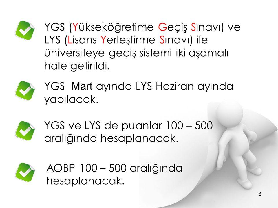 YGS (Yükseköğretime Geçiş Sınavı) ve LYS (Lisans Yerleştirme Sınavı) ile üniversiteye geçiş sistemi iki aşamalı hale getirildi. YGS Mart ayında LYS Ha