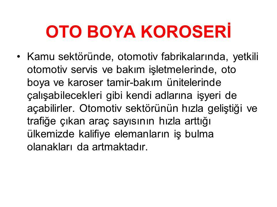 OTO BOYA KOROSERİ •Kamu sektöründe, otomotiv fabrikalarında, yetkili otomotiv servis ve bakım işletmelerinde, oto boya ve karoser tamir-bakım üniteler