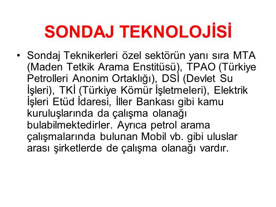 SONDAJ TEKNOLOJİSİ •Sondaj Teknikerleri özel sektörün yanı sıra MTA (Maden Tetkik Arama Enstitüsü), TPAO (Türkiye Petrolleri Anonim Ortaklığı), DSİ (D