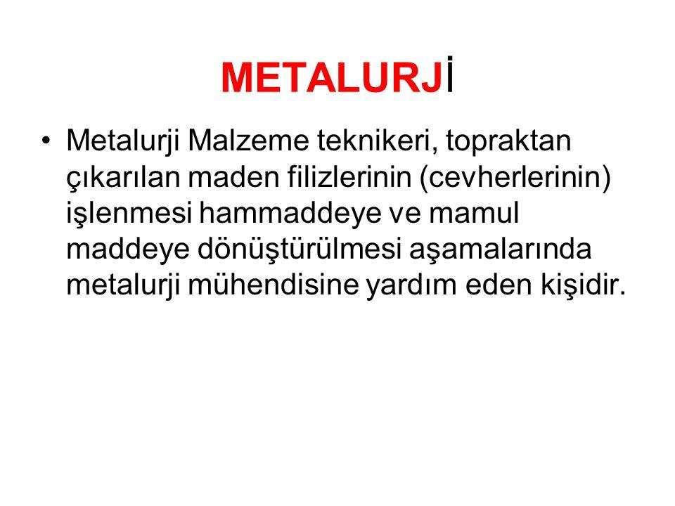 METALURJİ •Metalurji Malzeme teknikeri, topraktan çıkarılan maden filizlerinin (cevherlerinin) işlenmesi hammaddeye ve mamul maddeye dönüştürülmesi aş