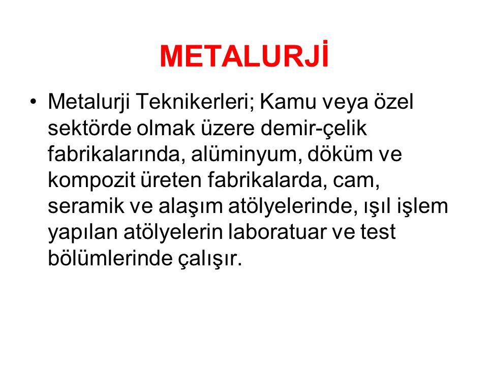 METALURJİ •Metalurji Teknikerleri; Kamu veya özel sektörde olmak üzere demir-çelik fabrikalarında, alüminyum, döküm ve kompozit üreten fabrikalarda, c