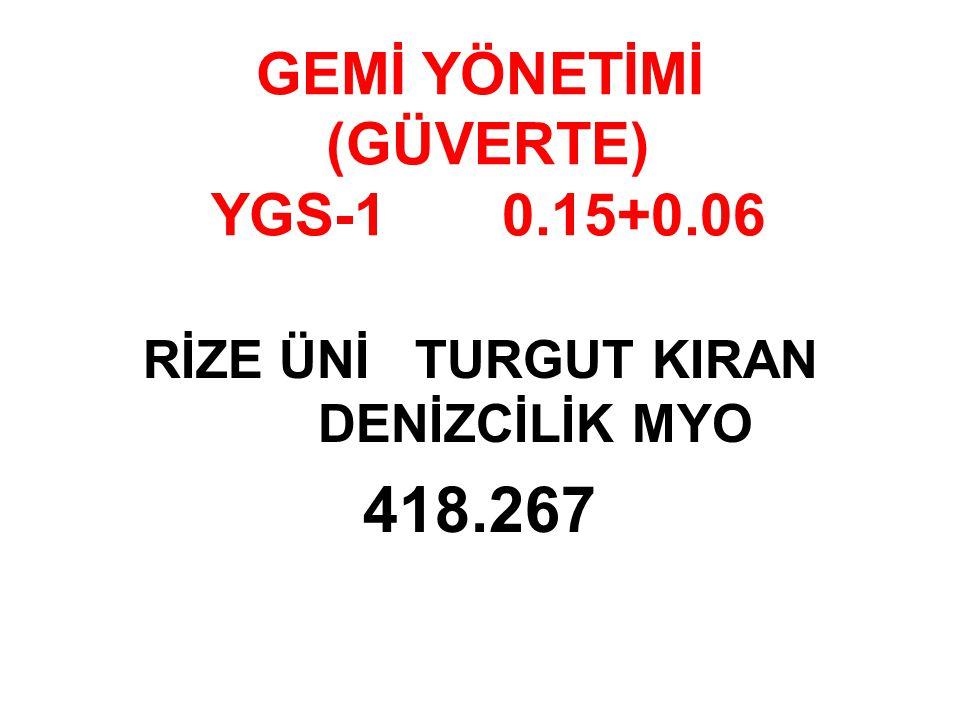 GEMİ YÖNETİMİ (GÜVERTE) YGS-1 0.15+0.06 RİZE ÜNİ TURGUT KIRAN DENİZCİLİK MYO 418.267