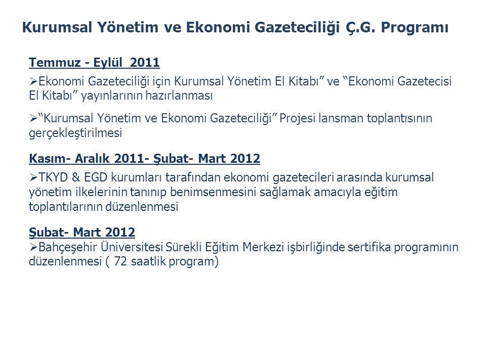 """Kurumsal Yönetim ve Ekonomi Gazeteciliği Ç.G. Programı Temmuz - Eylül 2011  Ekonomi Gazeteciliği için Kurumsal Yönetim El Kitabı"""" ve """"Ekonomi Gazetec"""