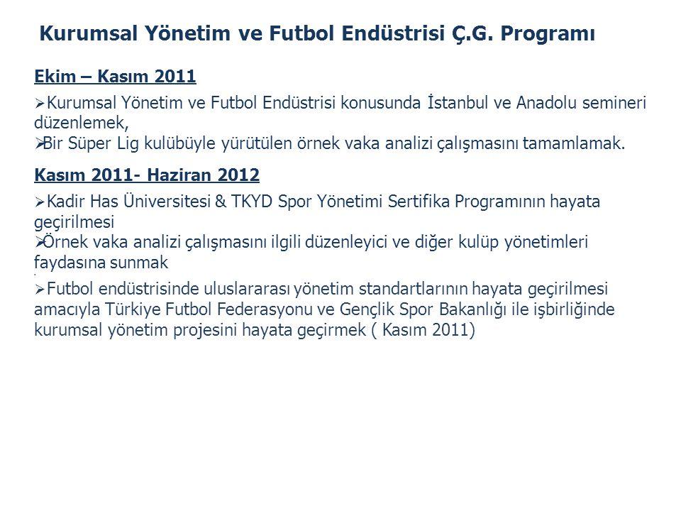 Kurumsal Yönetim ve Futbol Endüstrisi Ç.G. Programı Ekim – Kasım 2011  Kurumsal Yönetim ve Futbol Endüstrisi konusunda İstanbul ve Anadolu semineri d