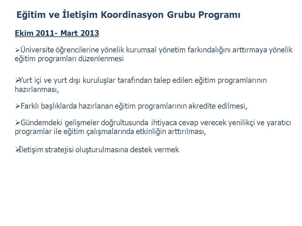 Eğitim ve İletişim Koordinasyon Grubu Programı Ekim 2011- Mart 2013  Üniversite öğrencilerine yönelik kurumsal yönetim farkındalığını arttırmaya yöne