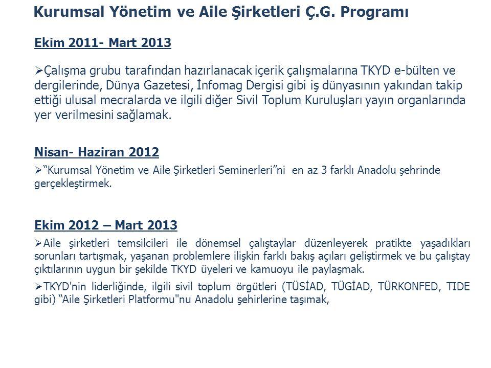 Kurumsal Yönetim ve Aile Şirketleri Ç.G. Programı Ekim 2011- Mart 2013  Çalışma grubu tarafından hazırlanacak içerik çalışmalarına TKYD e-bülten ve d