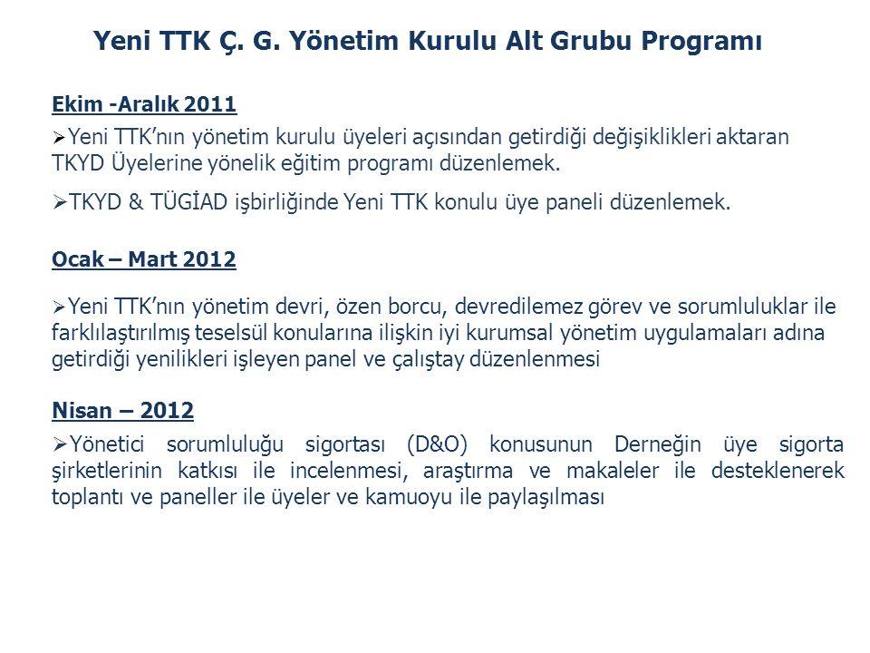 Yeni TTK Ç. G. Yönetim Kurulu Alt Grubu Programı Ekim -Aralık 2011  Yeni TTK'nın yönetim kurulu üyeleri açısından getirdiği değişiklikleri aktaran TK